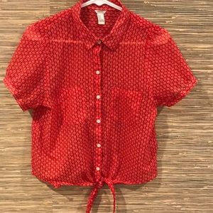 F21 red sheer blouse